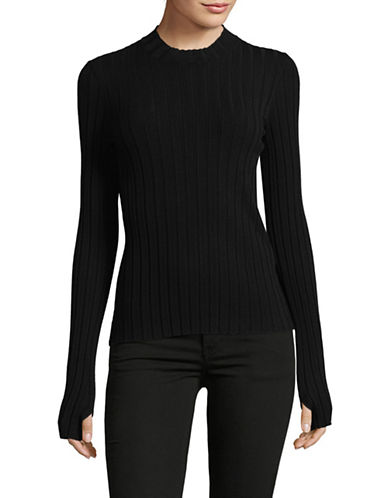 Hugo Suala Ribbed Mock Neck Top-BLACK-Small