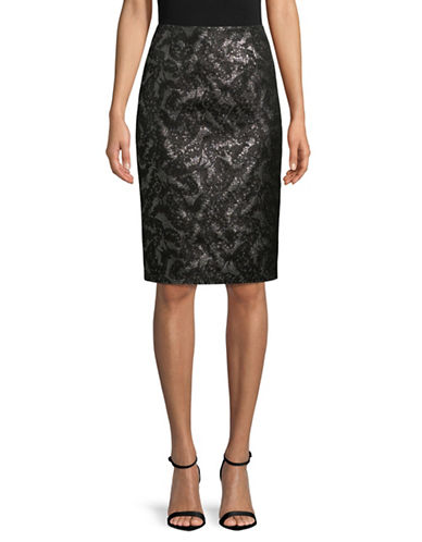 Hugo Reyna Pencil Skirt-BLACK-EUR 44/US 12