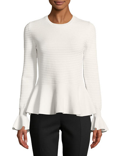 Hugo Long Sleeve Peplum Sweater-WHITE-X-Small