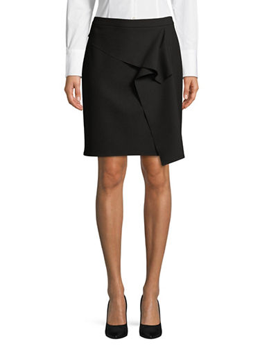 Hugo Ronina Ruffled Pencil Skirt-BLACK-EUR 32/US 0