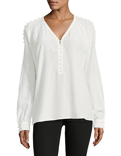 Hugo Emitis Crepe de Chine Silk Blouse-WHITE-EUR 34/US 2