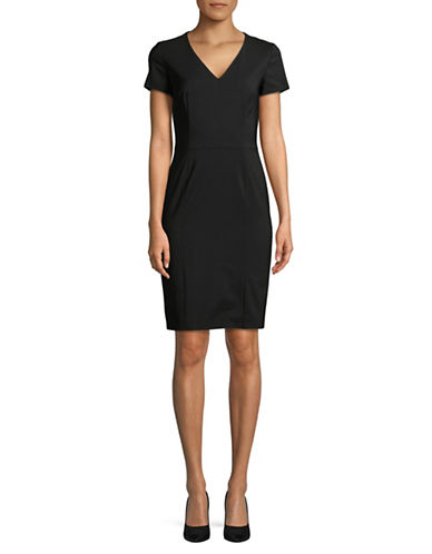 Hugo Koliva V-Neck Wool-Blend Sheath Dress-BLACK-EUR 34/US 2