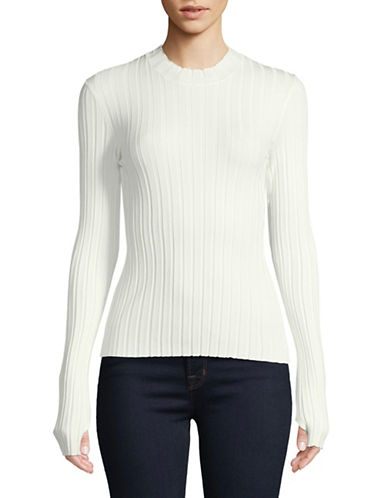 Hugo Suala Ribbed Mock Neck Top-WHITE-Large