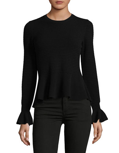 Hugo Long Sleeve Peplum Sweater-BLACK-X-Large