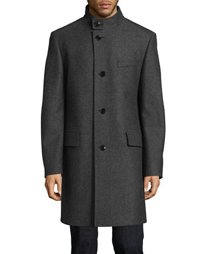 Hugo C-Sintrax Striped Wool-Blend Overcoat-GREY-44