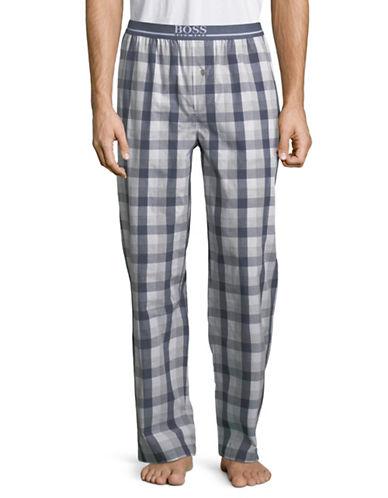 Boss Urban Checkered Cotton Pants-BLUE-Medium 89946683_BLUE_Medium