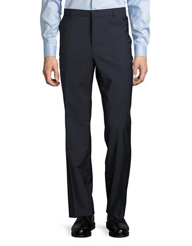 Hugo Genius Wool Straight-Leg Pants-DARK BLUE-30