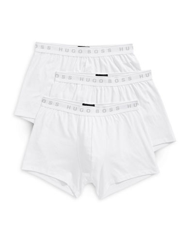 Boss Three-Pack Pure Cotton Boxer Trunks-WHITE-Large
