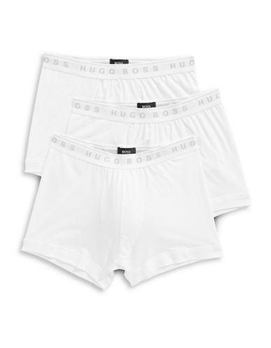 Boss Three-Pack Pure Cotton Boxer Briefs-WHITE-Small