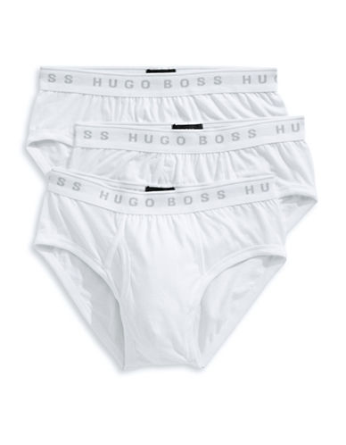 Boss Three-Pack Pure Cotton Traditional Briefs-WHITE-Small