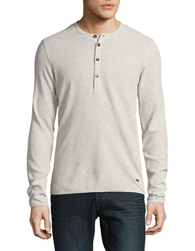 Boss Orange Topsider Woven Henley-WHITE-Medium