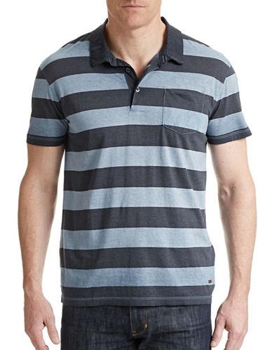 Boss Orange Block Stripe Cotton Polo-LIGHT BLUE-Medium