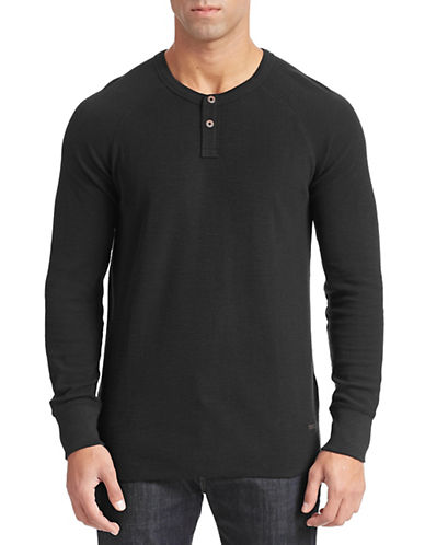 Boss Orange Ribbed Trucker Henley Shirt-BLACK-Medium