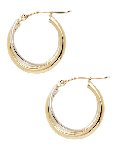 Fine Jewellery 14K Yellow And White Gold Criss Cross Tube Hoop Earrings-TWO TONE GOLD-One Size