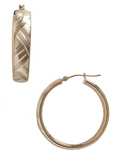 Fine Jewellery 14K Yellow Gold And Sterling Silver Satin Weave Hoop Earrings-TWO TONE-One Size