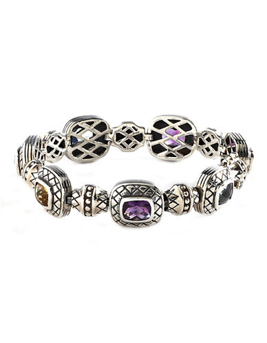Fine Jewellery Sterling Silver Multi Coloured Gemstone Bracelet-MULTI COLOURED-One Size