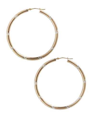 Fine Jewellery 14K Yellow Gold And Sterling Silver Chevron Hoop Earrings-AURAGENTO (SILVER/GOLD)-One Size