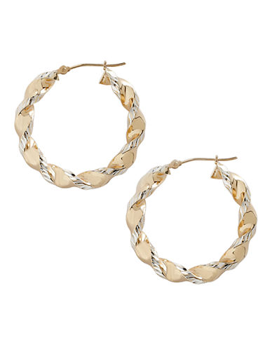 Fine Jewellery 14K Yellow Gold And Sterling Silver Rectangle Twist Hoop Earrings-TWO TONE-One Size