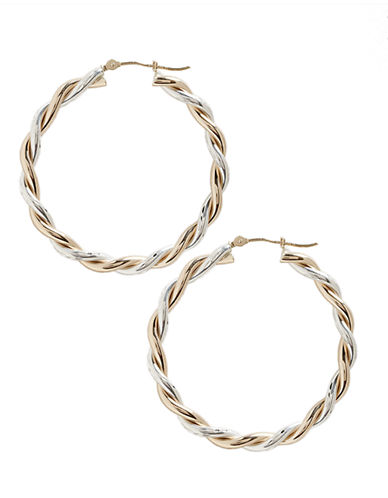 Fine Jewellery 14K Yellow Gold And Sterling Silver Twist Hoop Earrings-TWO TONE COLOUR-One Size