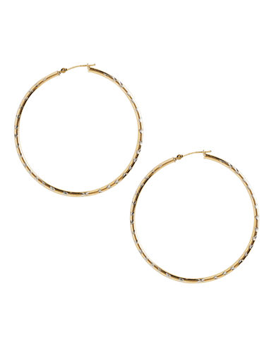 Fine Jewellery 14K Yellow Gold And Sterling Silver Chevron Diamond Cut Hoop Earrings-AURAGENTO (SILVER/GOLD)-One Size