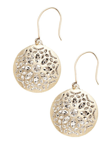 Fine Jewellery 14K Yellow Gold And Sterling Silver Round Flower Drop Earrings-AURAGENTO (SILVER/GOLD)-One Size
