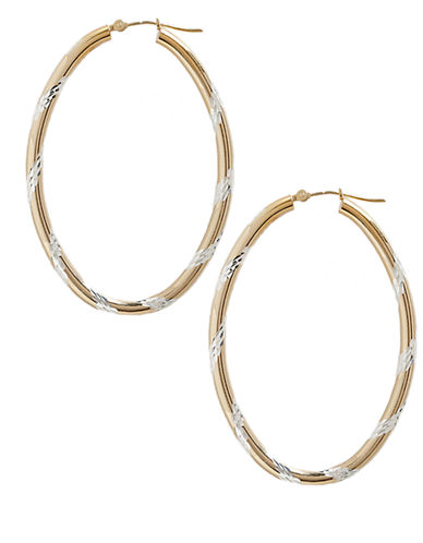 Fine Jewellery 14K Yellow Gold And Sterling Silver Diamond Cut Oval Hoop Earrings-AURAGENTO (SILVER/GOLD)-One Size