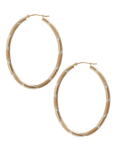 Fine Jewellery 14K Yellow Gold And Sterling Silver Oval Hoop Earrings-AURAGENTO (SILVER/GOLD)-One Size