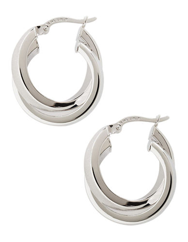 Fine Jewellery 14K White Gold Polished Satin Crossover Hoop Earrings-WHITE GOLD-One Size