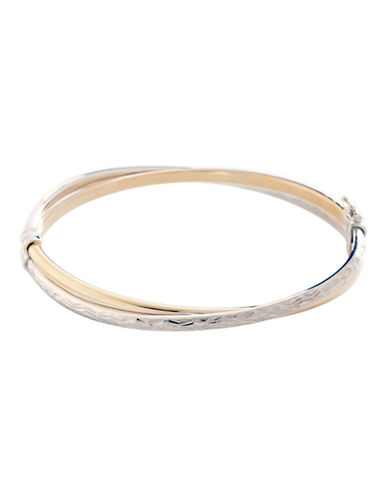 Fine Jewellery 14K Yellow Gold And Sterling Silver Diamond Cut Cross Over Bangle-AURAGENTO (SILVER/GOLD)-One Size