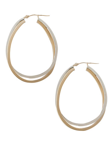 Fine Jewellery 14K Yellow Gold And Sterling Silver Interlocking Double Oval Hoop Earrings-TWO TONE COLOUR-One Size