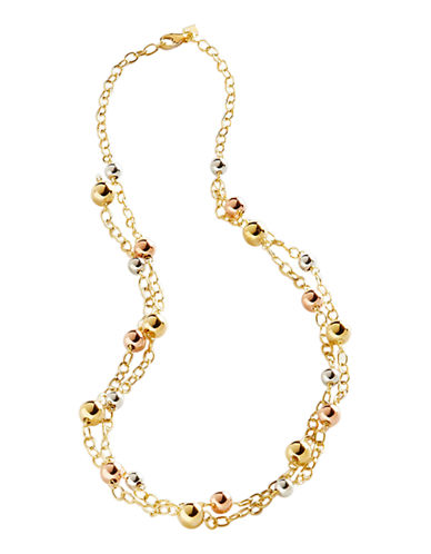 Fine Jewellery 14K Yellow Gold And Sterling Silver Double Row Necklace-AURAGENTO (SILVER/GOLD)-One Size
