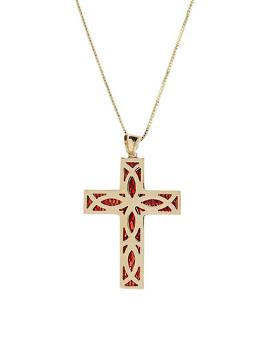 Fine Jewellery 14K Yellow Gold And Sterling Silver Red Enameled Cross Necklace-YELLOW GOLD-One Size