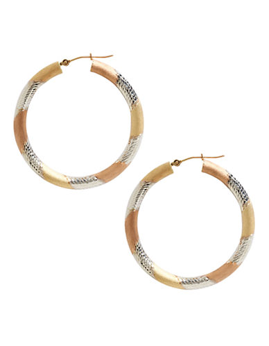 Fine Jewellery 14K Yellow Gold And Sterling Silver Satin Diamond Cut Hoop Earrings-AURAGENTO (SILVER/GOLD)-One Size