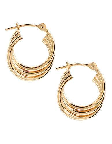 Fine Jewellery 14K Yellow Gold Triple Hoop Earrings-YELLOW GOLD-One Size