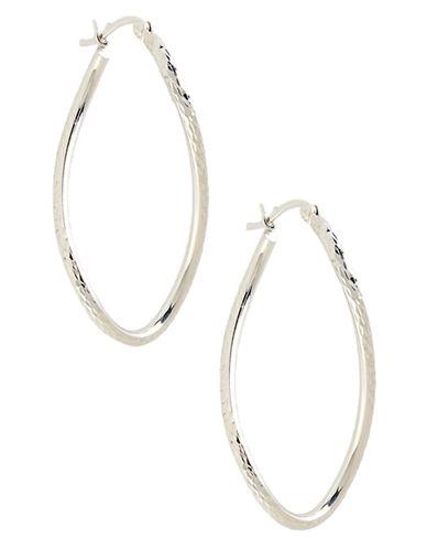 Fine Jewellery 14K White Gold Diamond Cut Wavy Hoop Earrings-WHITE GOLD-One Size