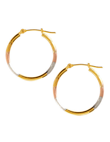 Fine Jewellery 14K Tri Colour Gold Satin Diamond Cut Supreme Hoop Earrings-TRI COLOUR GOLD-One Size