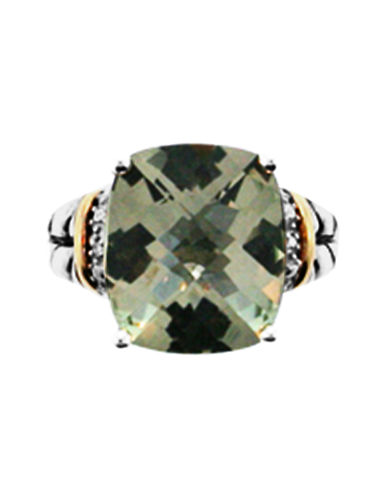 Fine Jewellery Sterling Silver And 14Kt Yellow Gold Green Amethyst diamond Ring-GREEN-7