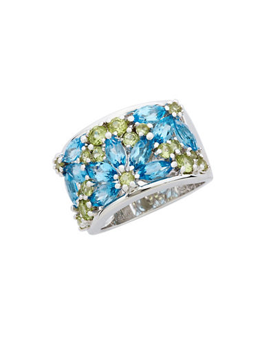 Fine Jewellery Sterling Silver  Peridot And Blue Topaz Gemstone Ring-SS PERIDOT & BLUE TOPAZ GEMSTONE SET WIDE BAND RING-7