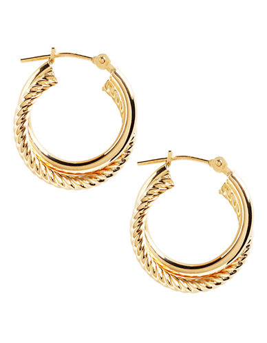 Fine Jewellery 14K Yellow Gold Double Spiral Hoop Earrings-YELLOW GOLD-One Size