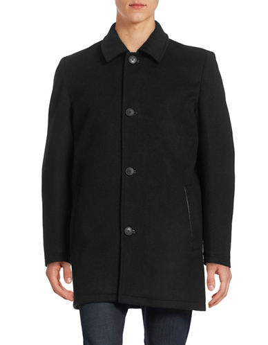 Vince Camuto Laminated Wool-Blend Thinsulate Coat-BLACK-X-Large