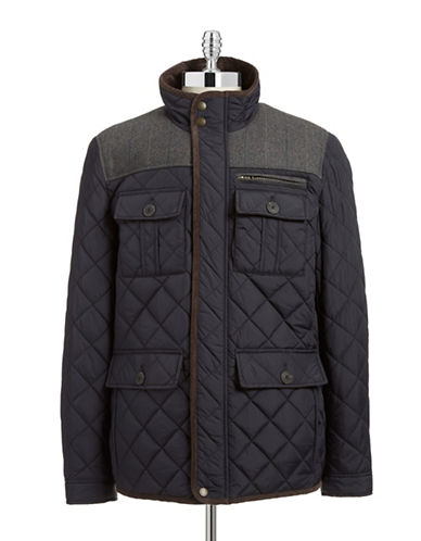 Vince Camuto Wool Plaid Quilted Jacket-NAVY-X-Large