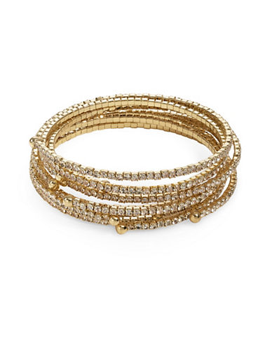 A.B.S. By Allen Schwartz Seven-Piece Coil Pave Bracelet Set-GOLD-One Size