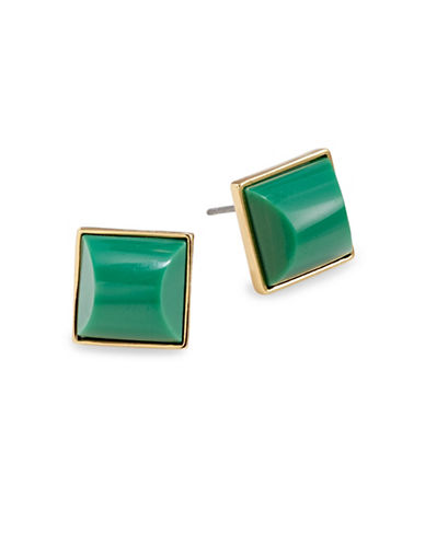 Trina Turk Square Cabochon Stud Earrings-GREEN-One Size