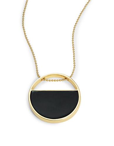 Trina Turk Enamel Circle Pendant Necklace-BLACK-One Size