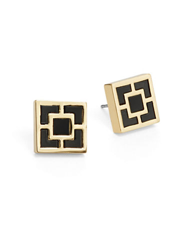 Trina Turk Geo Square Stud Earrings-BLACK-One Size