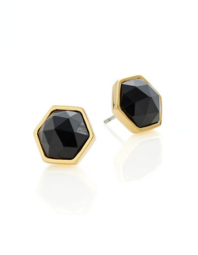 Trina Turk Hexagon Stone Stud Earrings-BLACK-One Size