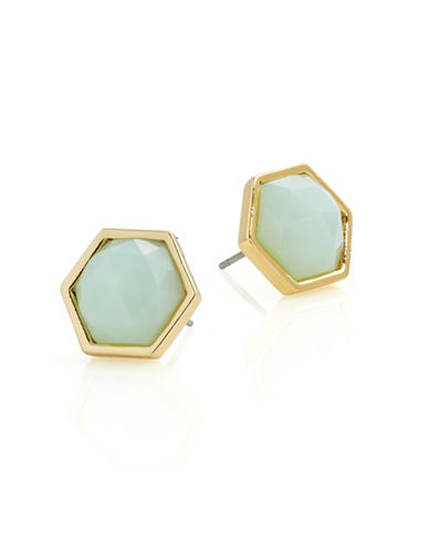 Trina Turk Hexagon Stone Stud Earrings-GREEN-One Size