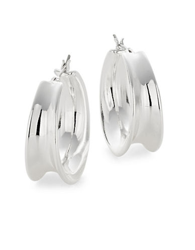 Lauren Ralph Lauren Contoured Clip-On Hoop Earrings-SILVER-One Size