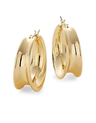 Lauren Ralph Lauren Contoured Hoop Earrings-GOLD-One Size