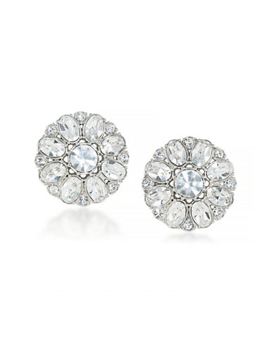 Carolee Floral Crystal Clip-On Earrings-LIGHT WHITE-One Size